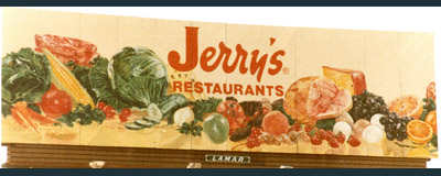 Jerry's Food Billboard Painting, Billboard Painting, Flying Armadillo Signs, Mike Burrell, FASCO