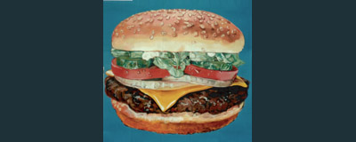 Hamburger Painting, Billboard Painting, Flying Armadillo Signs, Mike Burrell, FASCO