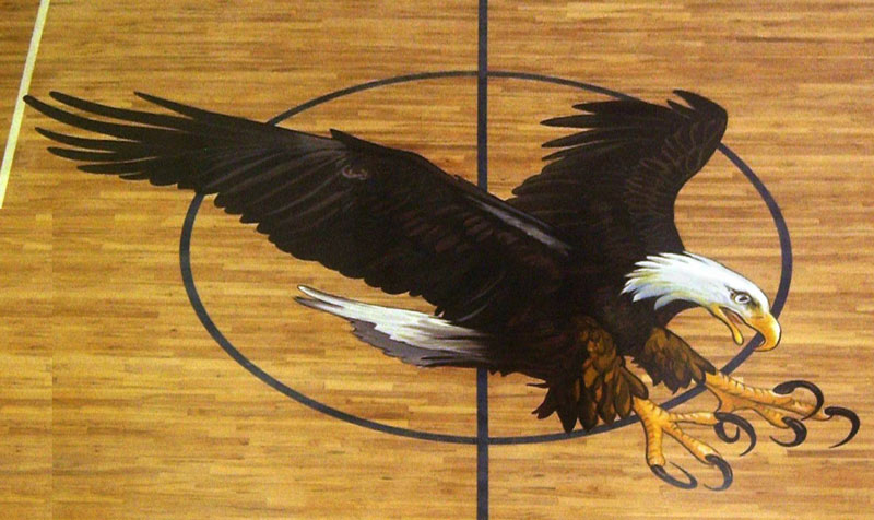 Eagle Painting  Gym Floor Painting, Flying Armadillo Signs, Mike Burrell, FASCO