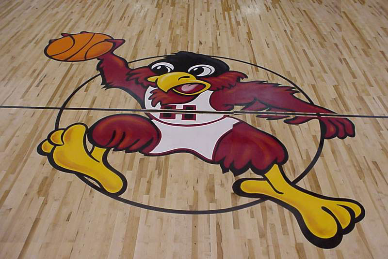 Falcon Dunk  Gym Floor Painting, Flying Armadillo Signs, Mike Burrell, FASCO