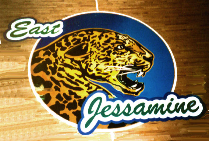 East Jessamine Jaguar  Gym Floor Painting, Flying Armadillo Signs, Mike Burrell, FASCO